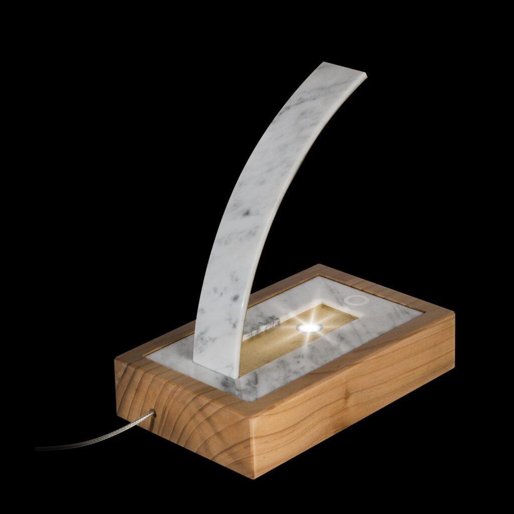 Filgree abat-jour per tavolini, comodini, luce led realizzata in legno marmo metallo con rivestimenti in foglia oro o argento